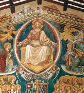particolare del giudizio, Deesis: intercessione della Vergine e San Giovanni Battista presso il Cristo