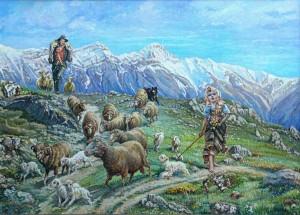 Teofilo Masuli, pastorelli con lo sfondo del Gran Sasso.