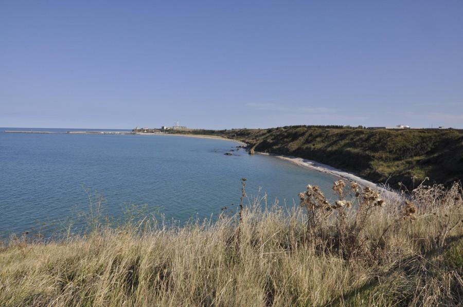 (Riserva di Punta Aderci: spiaggia di Punta Penna, sullo sfondo il porto di Vasto. Ph: Ivan Masciovecchio)