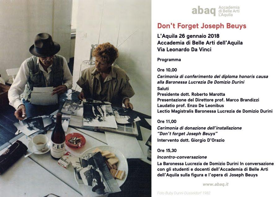 invito inaugurazione Joseph Beuys_ABAQ