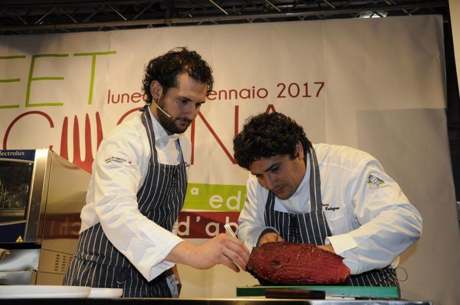 Luca Mattioli e Mauro Colagreco sul palco del Meet in Cucina 2017 (ph. Ivan Masciovecchio)