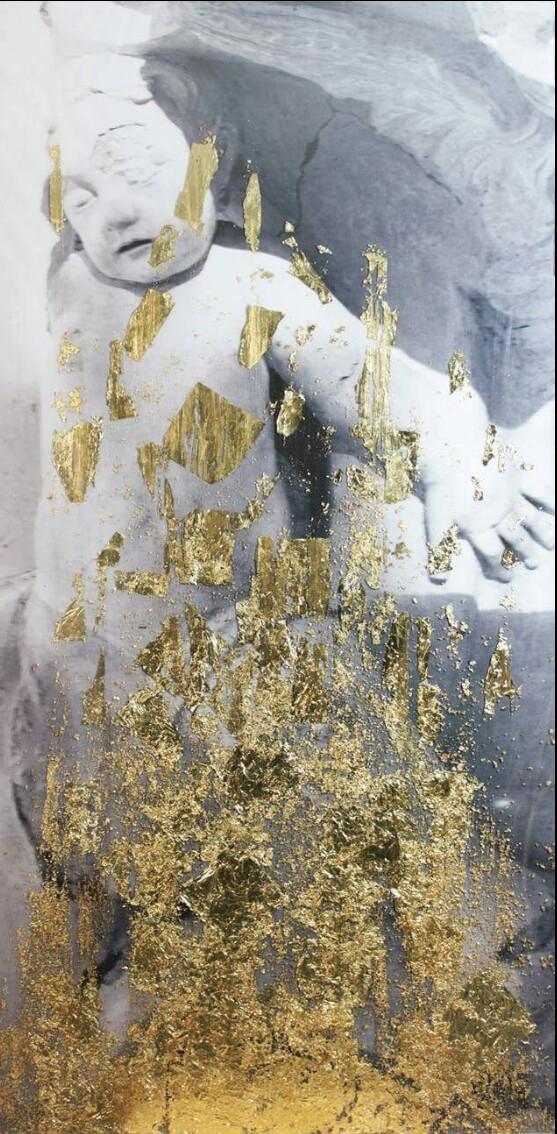 """L'opera """"Ruggine 1"""" (tecnica mista) dell'artista Luca Farina presente alla mostra"""