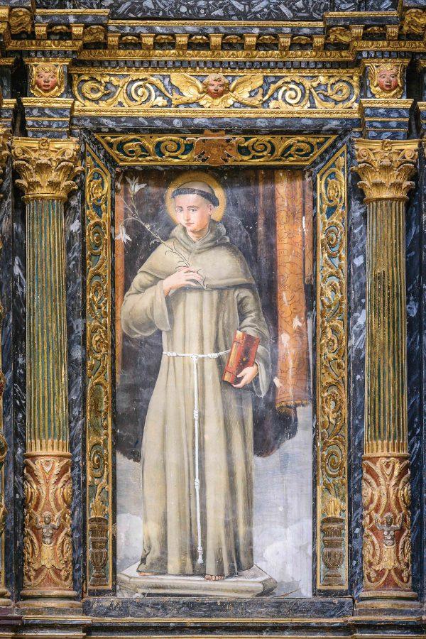 Sant'Antonio di Padova raffigurato secondo la prima iconografia antoniana.