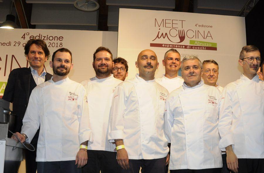 Alcuni dei cuochi relatori sul palco del Meet in Cucina 2018 (ph. Ivan Masciovecchio)