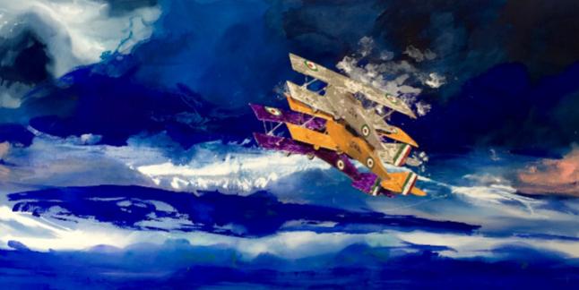 """""""Aeroplanini di carta"""", tecnica mista su tela, 150x120 cm, 2017."""