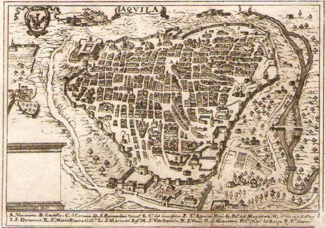 Mappa delle mura della città dell'Aquila