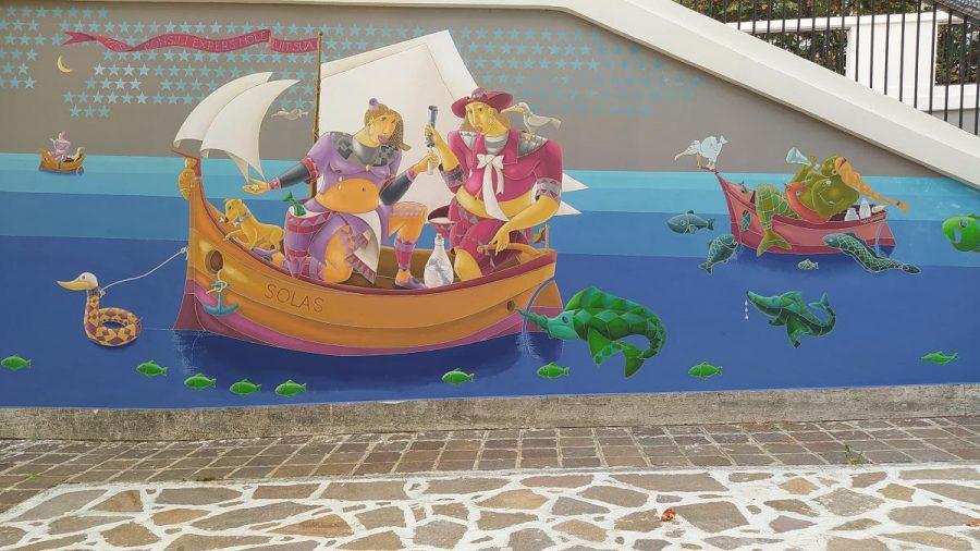 Parte di sinistra del murale (ph. Ivan Masciovecchio)
